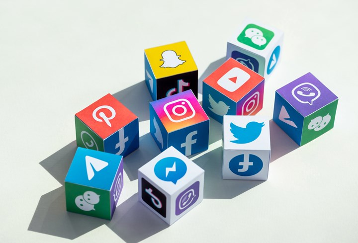 Kyiv, Ukraine - September 5, 2019: A paper cubes collection with printed logos of world-famous social networks and online messengers, such as Facebook, Instagram, YouTube, Telegram and others. (Kyiv, Ukraine - September 5, 2019: A paper cubes collecti